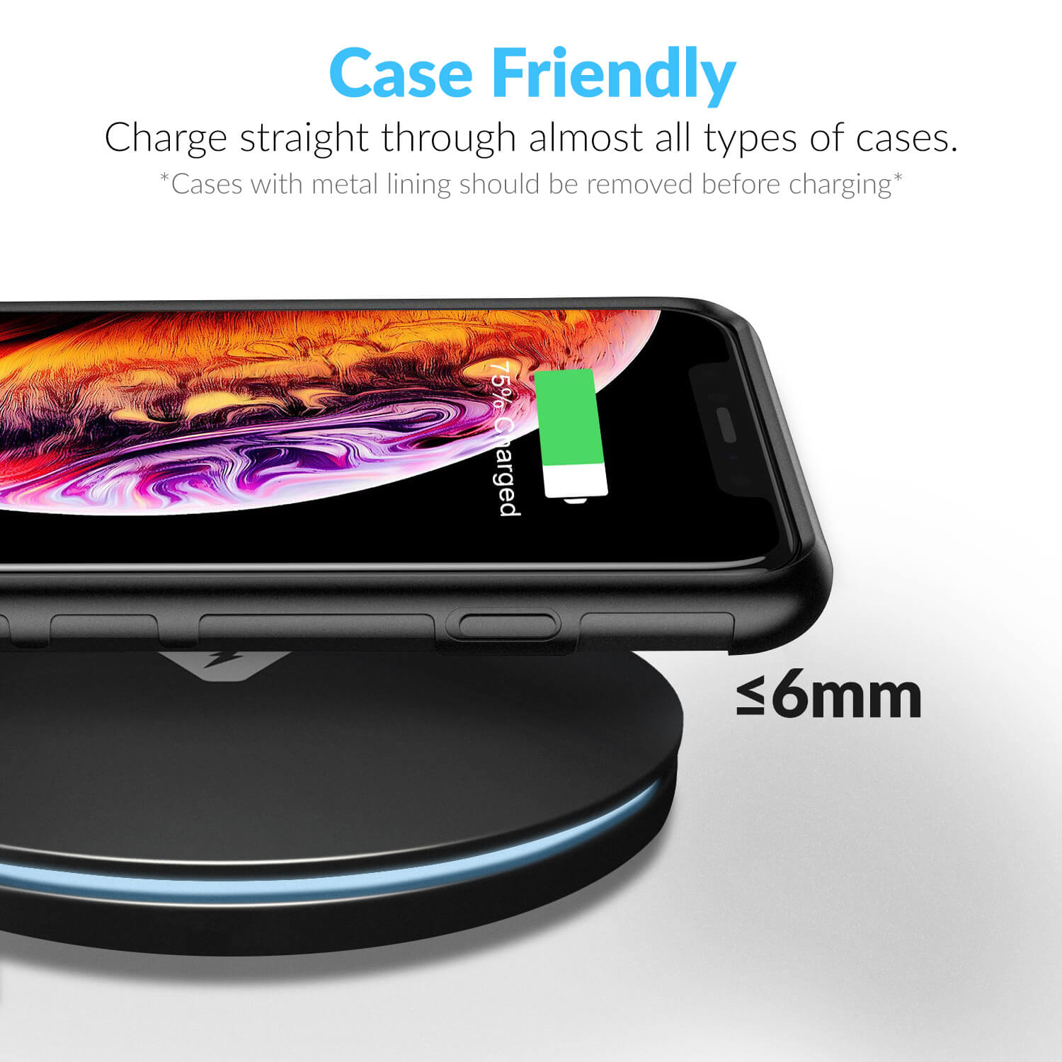 Wireless Charger – QI Certified Fast Charge for iPhones and Samsung phones